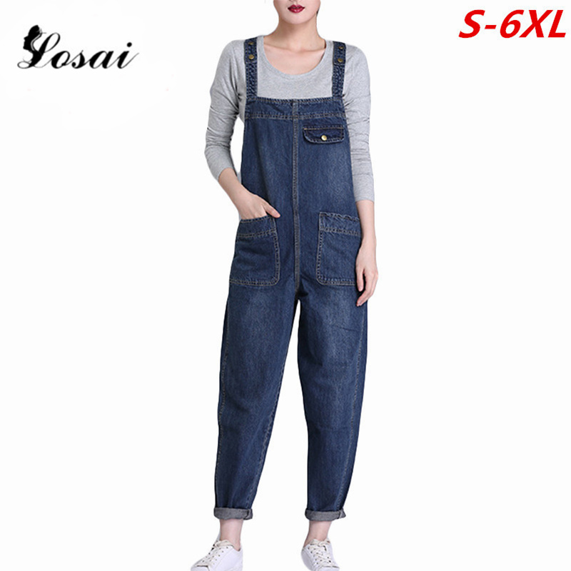 Plus Size 6XL Women Denim   Jumpsuit   2019 Ladies Loose Jeans Rompers Female Casual Hole Denim   Jumpsuits   Boyfriend Overall Playsuit