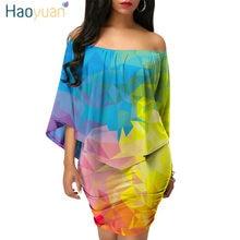 32fd529ca8bd734 HAOYUAN Tie Dye облегающее платье женская одежда рюшами с плеча халат пикантные  Клубные мини Обёрточная бумага
