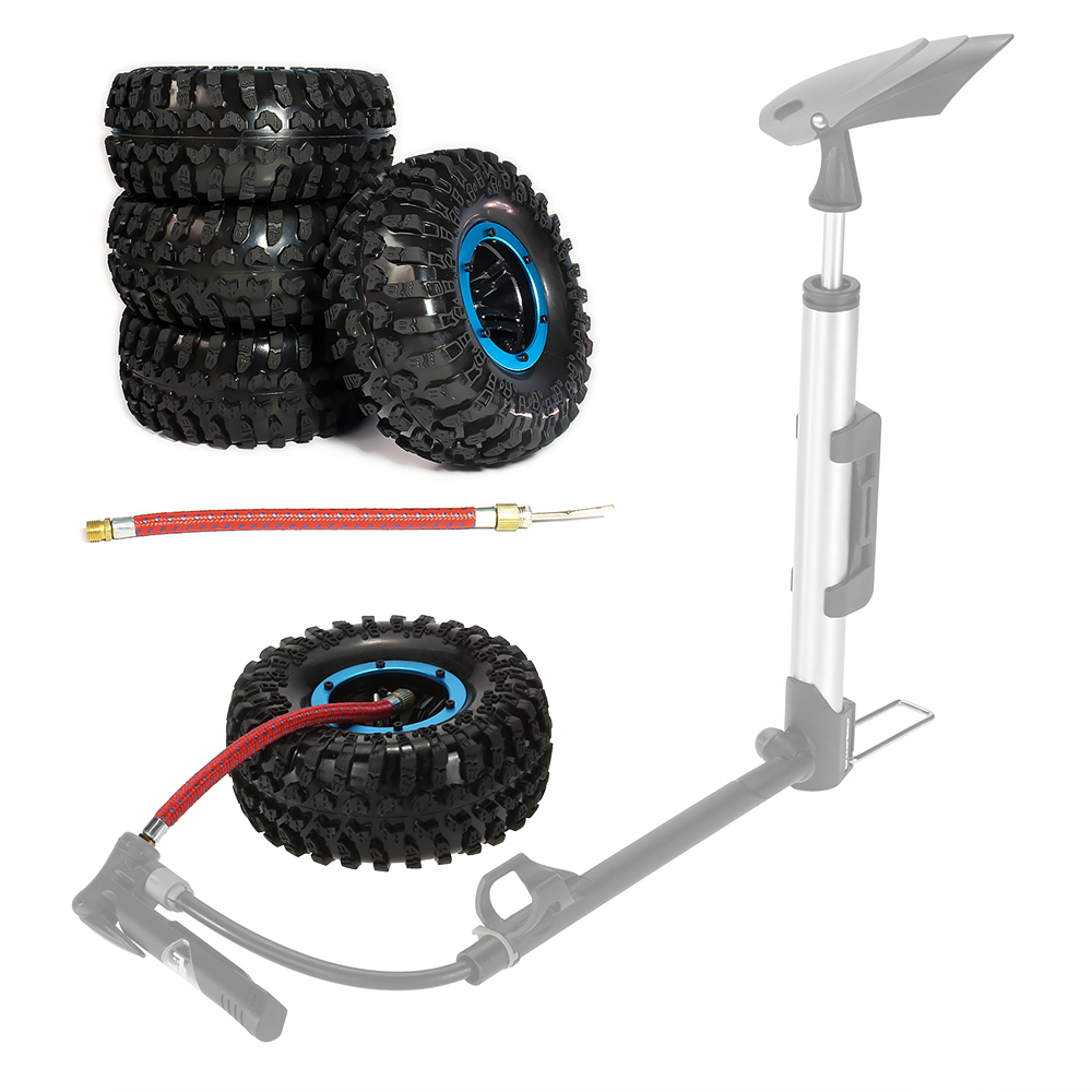 RCAWD 4pcs Inflatable 2.2 Inch Beadlock Tire Tyre Wheel Air Pneumatic For 1/10 RC Crawler Truck Wraith Scx10 AX10 Inflate Austar