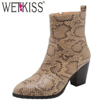 WETKISS Snake Skin Boots Women Heels High Ankle Boot Pointed Toe Shoes Female Shoes Ladies Western Shoes Winter Plus Size 46(China)