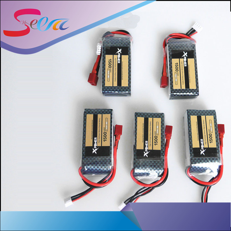 HOT 5pcs Xpower LiPo Battery 11.1V 1500Mah 3S 40C MAX 60C T Plug For RC Car Airplane boats Helicopter Part WLtoys V950 стоимость