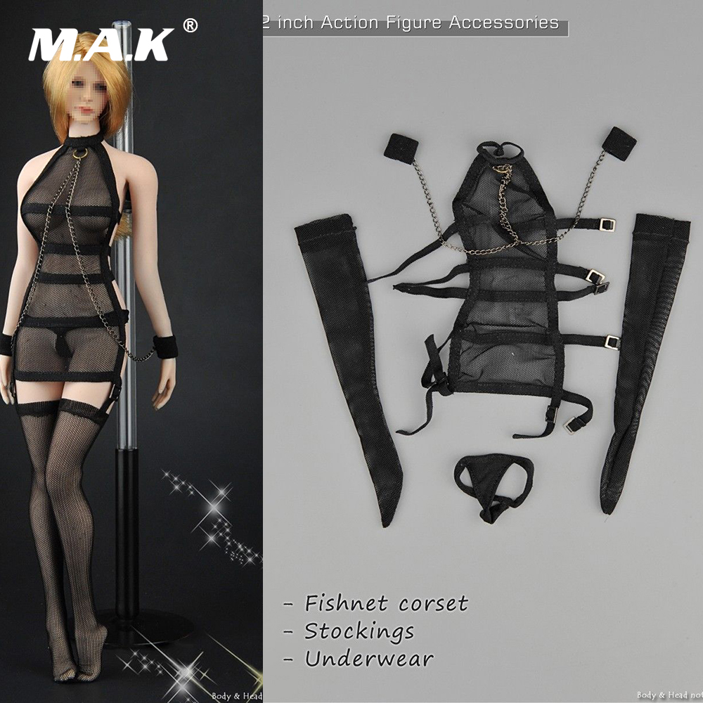 ZY5017 1:6 Scale Sexy Female Clothes Mesh See-Through Black Dress Sexy Fishnet Corset Sets for 12 inches Action Figure Body 2015 new women sexy fishnet stockings fishnet pantyhose ladies mesh lingerie for female tights