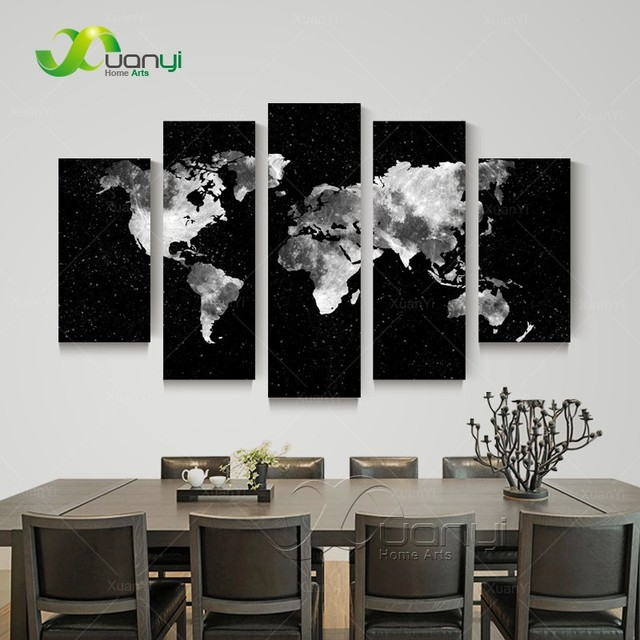 5 Panel Abstract Foto Muur Schilderen Wereldkaart Canvas Zwart ...