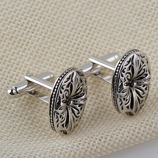 Vintage Antique Silver Greek Shirt Cufflink Mens Cuff Buttons Diy Ellipse Cross Links