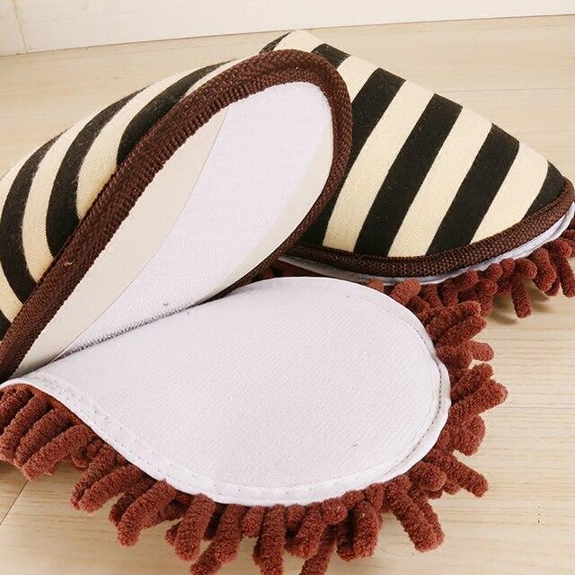 Многофункциональные полосатые домашние тапочки для уборки пола, съемная швабра, тапочки для уборки пыли