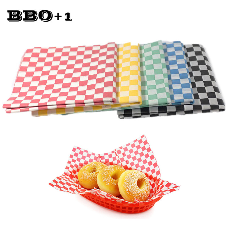 24pcs Checkered Food Wax Paper Liners Oil Proof Wrappers