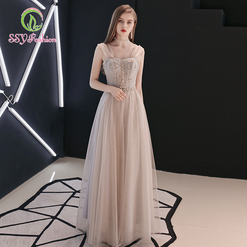 SSYfashion Elegant Strap Lace Up Back Floor-Length Tulle Evening Dresses Long Custom Formal Dresses Evening Gown Robe De Soiree