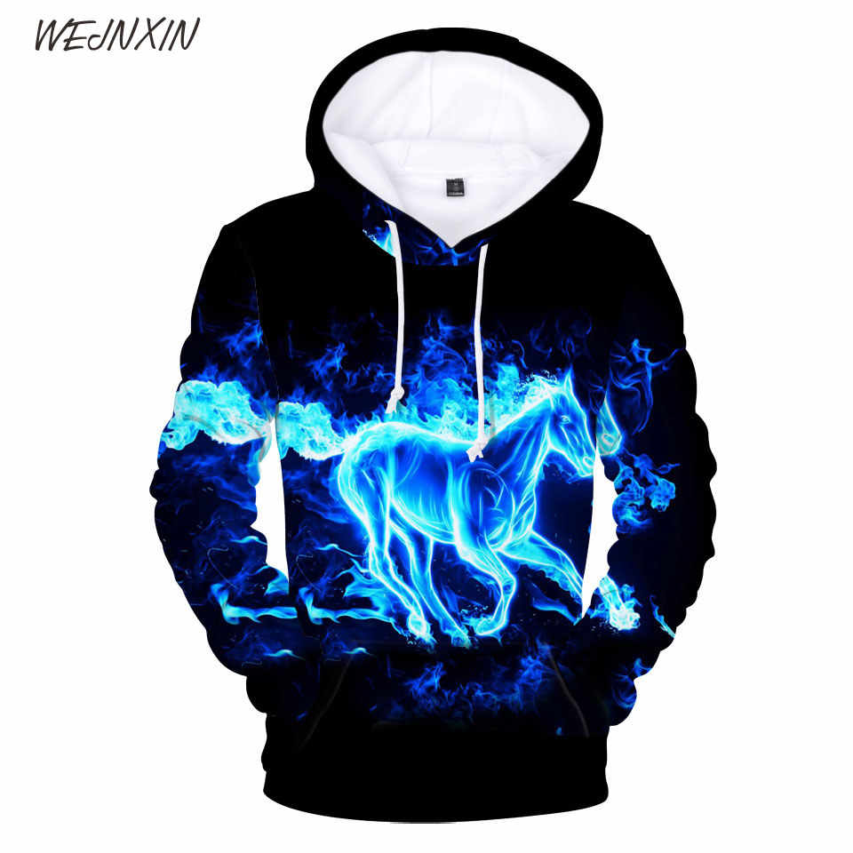 WEJNXIN Flame Horse 3D Pullover Hoodie Plus Size O-Neck Sweatshirt 3D Print Blue Flame Horse Hoodies Men Women Cool Tracksuit