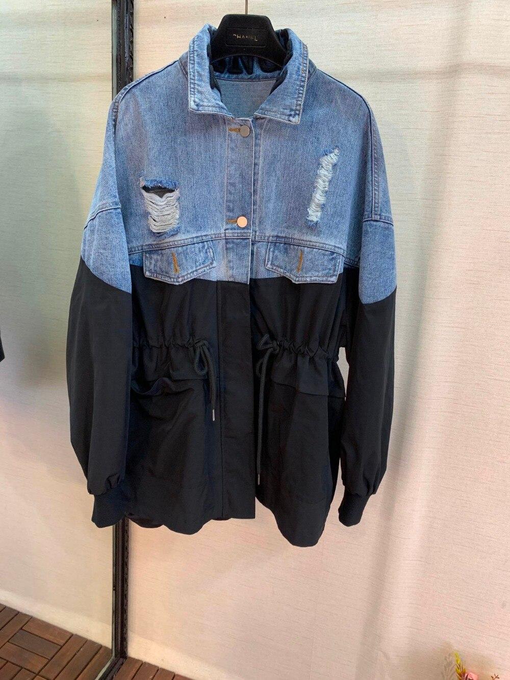 2019 nouvelles dames de mode lettre broderie revers couture veste en jean 0415