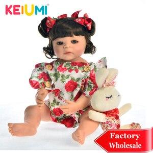 KEIUMI Hot Sale 22'' Full Silicone Reborn Menina Boneca Realistic Princess Fashion Doll Reborn Baby 55 cm Toy for Kids Playmates(China)