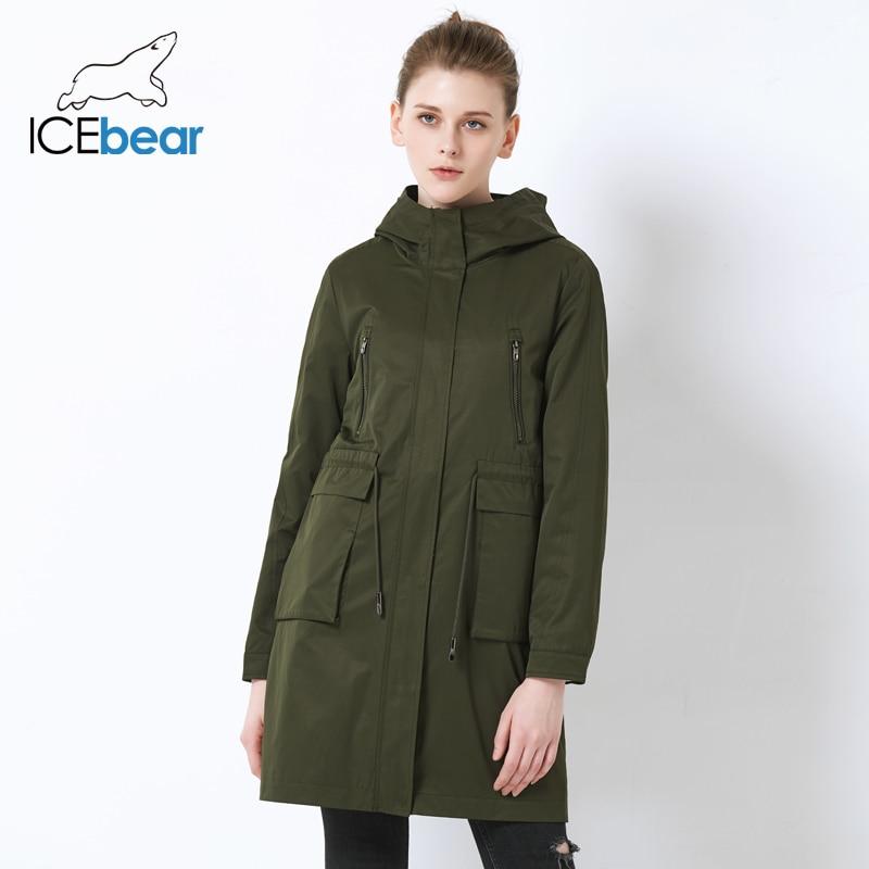 ICEbear 2019 High Quality Loose Women s Trench Coat Large Pocket Design Women s Fashion Coat