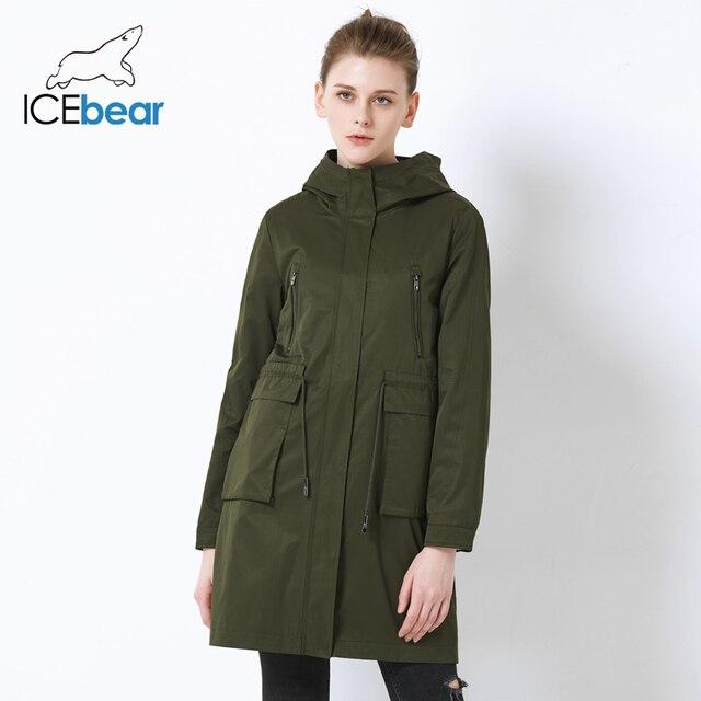ICEbear 2019 באיכות גבוהה רופף נשים של תעלת מעיל כיס גדול עיצוב נשים של אופנה מעיל סלעית מקרית מעילי GWF18007I