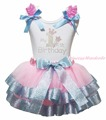My 1ST 2ND 3RD 4TH 5TH 6TH Birthday Dress Shirt Pink Light Blue Ribbon Petal Skirt Outfit Set Nb-8y