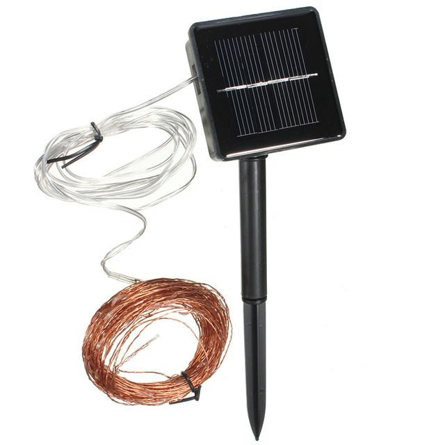 Alta Calidad 15 M de Alambre de Cobre de 150 LED de Energía Solar Cadena de Hadas de Luz Del Banquete de Boda Decoración de La Lámpara 2 M Abajo plomo