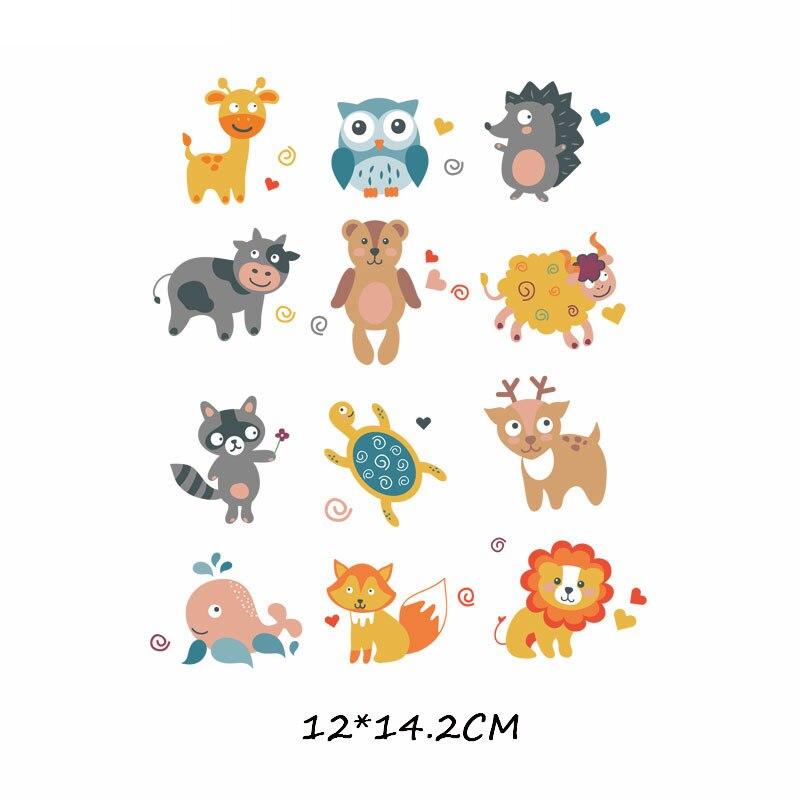 Набор патчей с изображением животных из мультфильмов, милые патчи с изображением единорога, кошки, совы, собаки, цветов для детей, одежда для девочек, футболка, сделай сам, термопресс - Цвет: 580