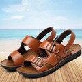 Homens verão sandálias de Couro Genuíno do dedo do pé Aberto tamanho Extra grande chinelos de praia sapatos sapatos de lazer Respirável Plus Size 46 47 48 obuv