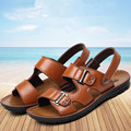 Summer men's sandals Genuine Leather Open toe  Extra large size Beach shoes Breathable leisure slippers Plus Size 46 47 48 obuv