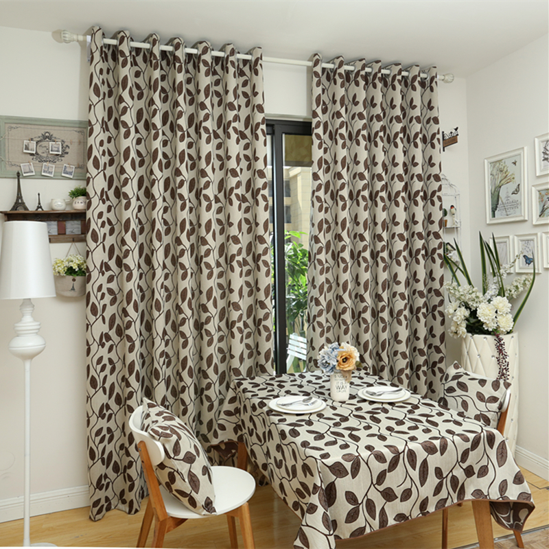 Free shipping rustic leave design window treatments 3d for 3 window curtain design