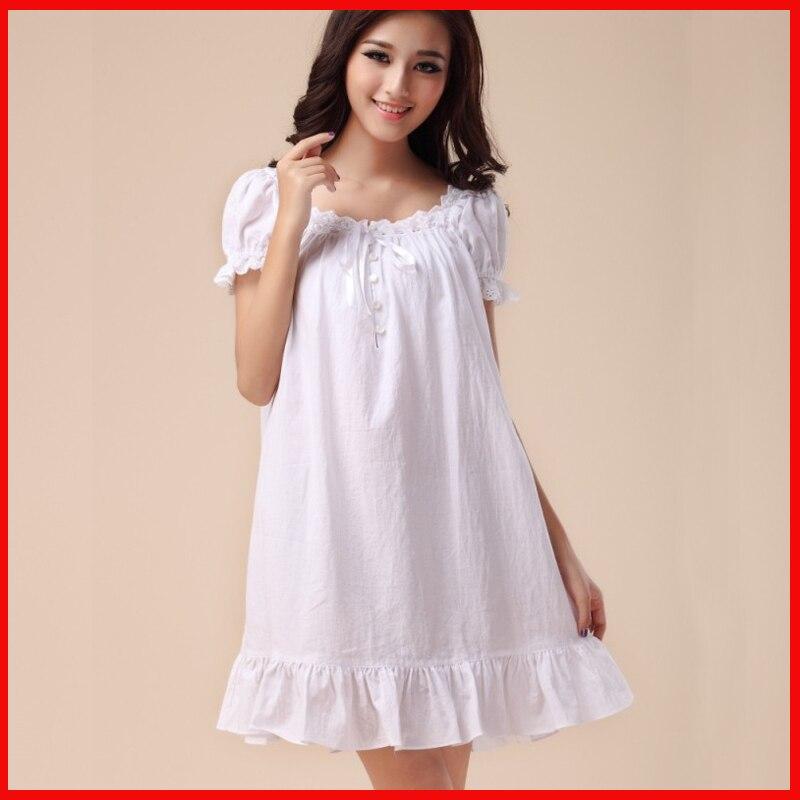 Elegant Nightgowns Women Summer Royal Princess Night Dress Sleepwear ...