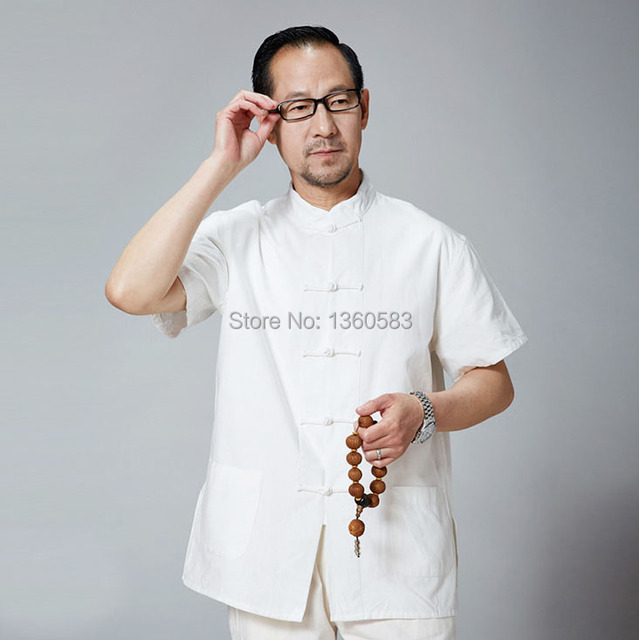 Новый Мужской Хлопок с коротким рукавом Кунг-Фу Рубашка Классический Китайский Стиль Тан Одежда многоцветный Плюс Размер рубашки S-4XL M208