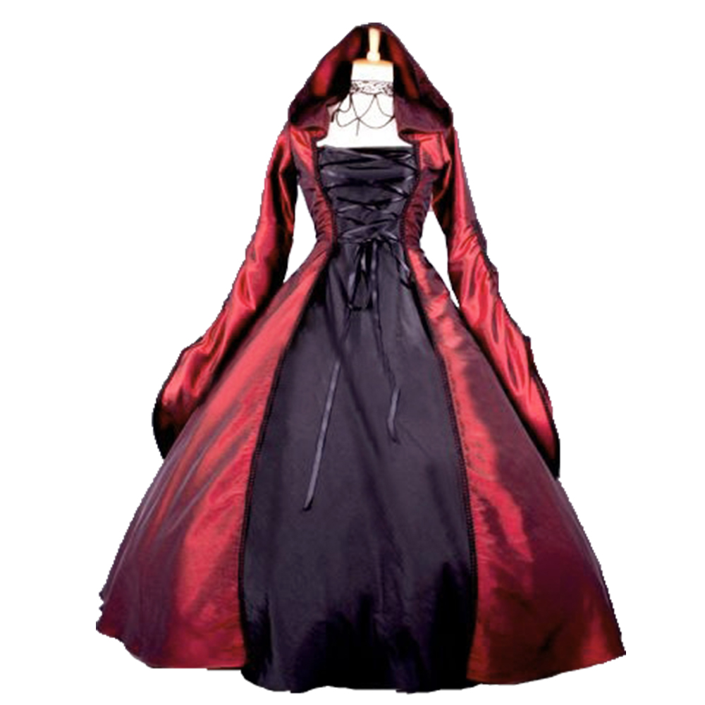 Robe gothique Lolita sorcière femme robe victorienne popeline manches longues à capuche robe Halloween rouge noir robes Cosplay
