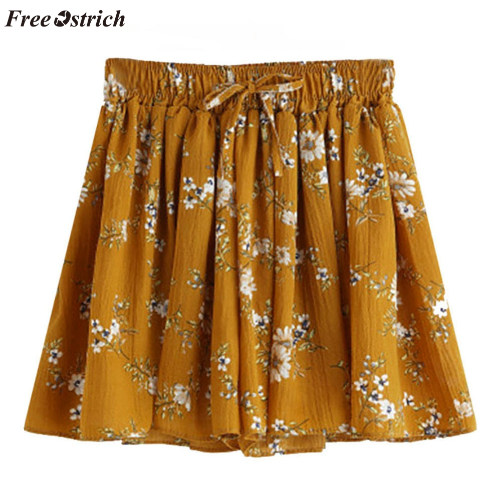 FREE OSTRICH Women's fashion and comfortable personality everyday wild flower loose waist elastic waist printing fitness   shorts