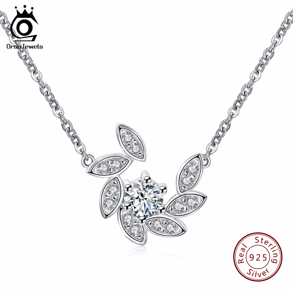 ORSA JEWELS 100% 925 Sterling Silver Crystal Paved Pendants&Necklaces for Women Rhodium Color Fashion Jewelry SN36