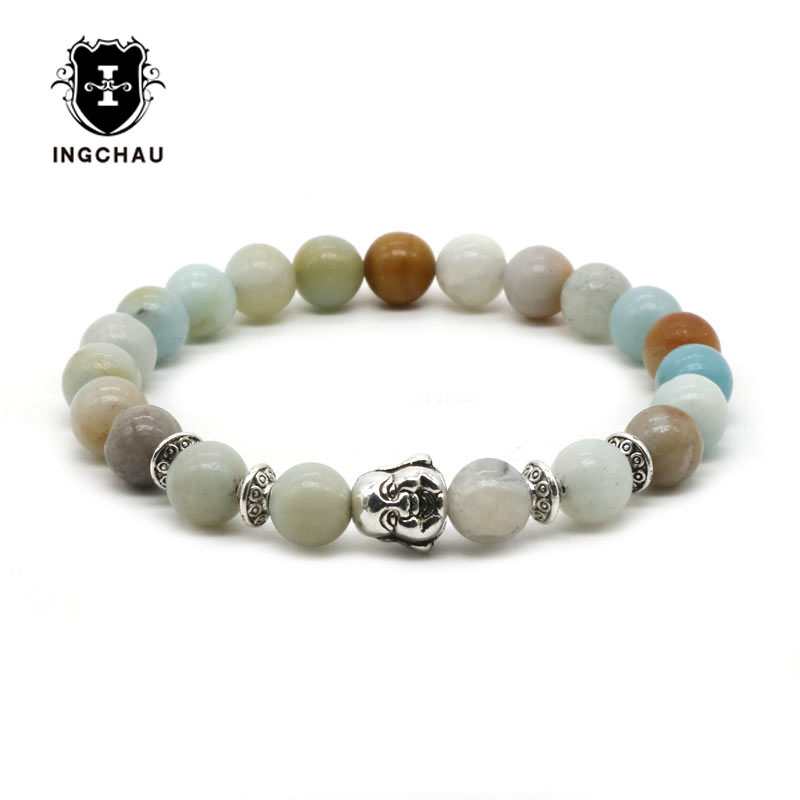 Silver Plated Laughing Buddha Bracelet Men/Women Natural Aventurine Amazonite Beads Bracelet Mala Pulseira Masculina BD-27