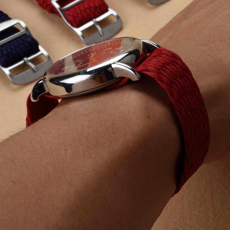 """MR 14 16 18 20 מ""""מ עבור Perlon NENG רצועת חום כחול צבעים שחורים 22 מ""""מ נאט""""ו רצועת השעון שעון ארוג רצועת צמיד שעוני יד בנד"""