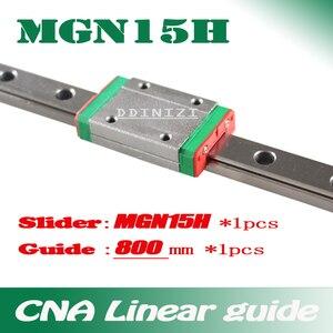 Guía lineal de 15mm MGN15 800mm vía de riel lineal + carro lineal largo MGN15H para CNC X Y eje Z envío gratis