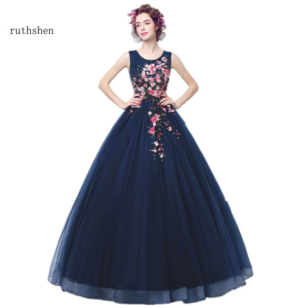 ruthshen Vintage Formal Evening Dresses 2018 New Embroidery Navy Blue Ball Gown Prom Dress Ladies Special