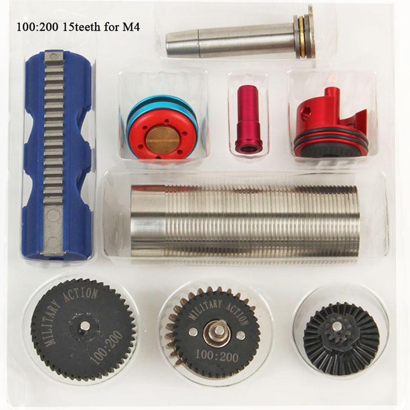 Sports & Entertainment Tactifans 100:200 High Speed Gear 15 Teeth Piston Cylinder Piston Head Spring Guide Nozzle Tune-up Set For M4/ak/g36/mp5 Series