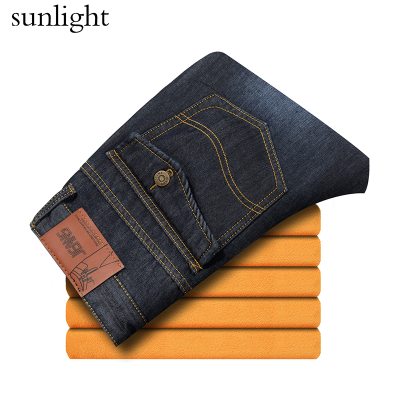 2017 Men Winter Heavyweight Thick Denim Jeans Men Wool Line Warm Straight Long Jeans Male Solid