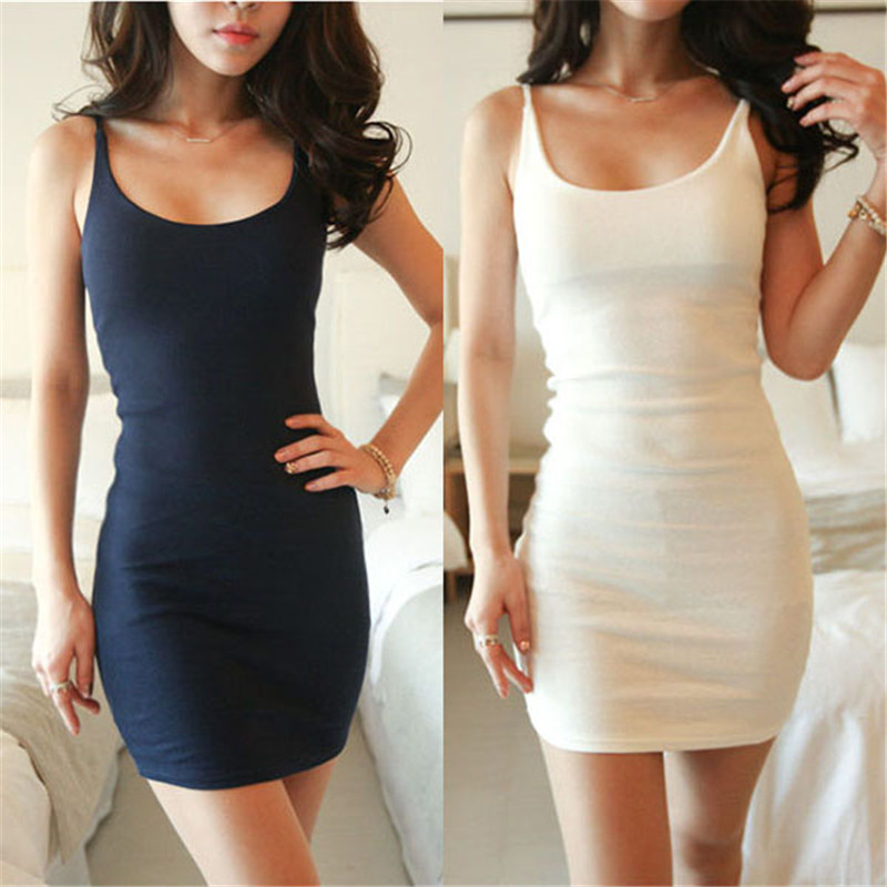3725e59be3e3 2018 New Summer Style Slim Lady Sexy Solid Women Bodycon Skinny Bottoming  Dresses Cotton Spaghetti Strap Dress Base Mini Dresses-in Dresses from  Women's ...