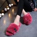 Genuíno sapatos De Peles naturais Mulher indoor chinelos piso casa chinelos de lã inverno sapatos flats sapatos de senhora doce