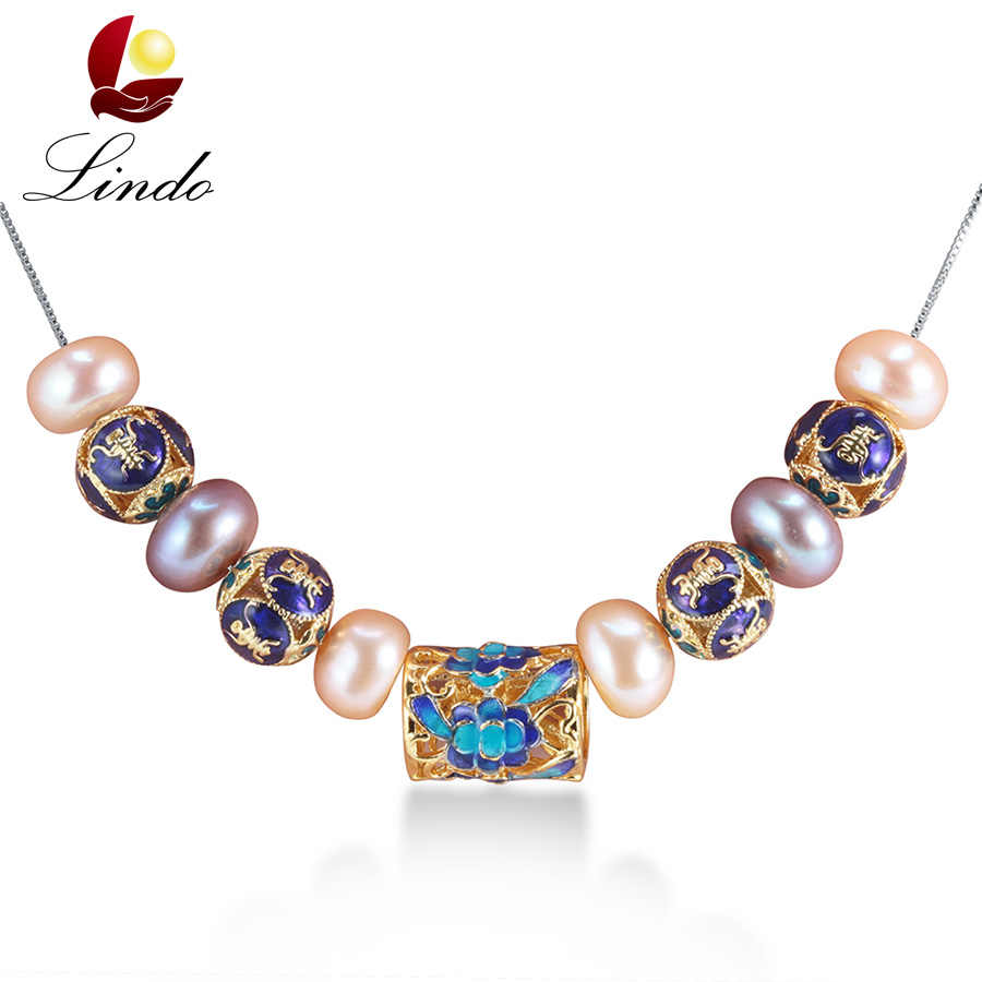 European Style natural pearl necklace for women AAAA high quality pearl jewelry New Blue accessaries with 45cm silver chain