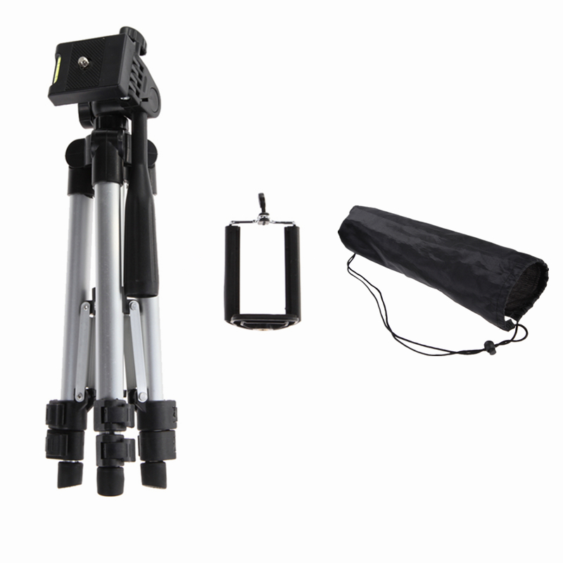 Portable Professional Aluminum Telescopic Camera Tripod Stand Holder For Smart Phone For iPhone For Samsung universal tripod mount adapter telescopic cell phone stand holder