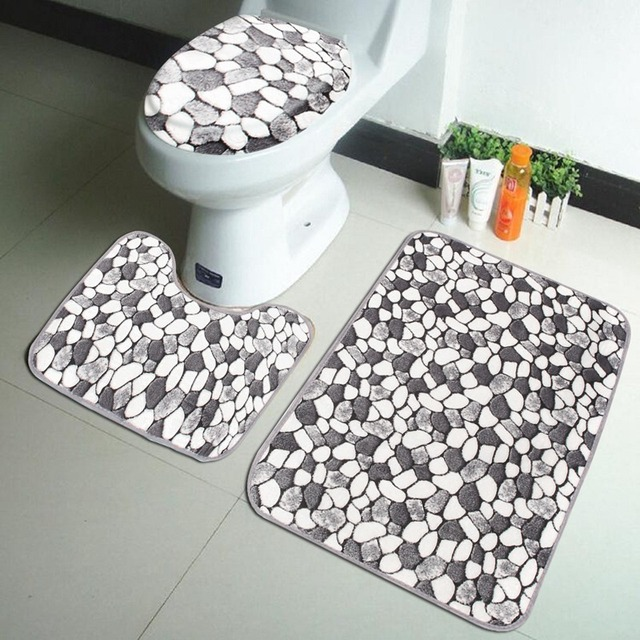 3PCS Coral Velvet Pebble Pattern Bathroom Mats Rugs Set Non Slip Washable  Floor Carpet Bath