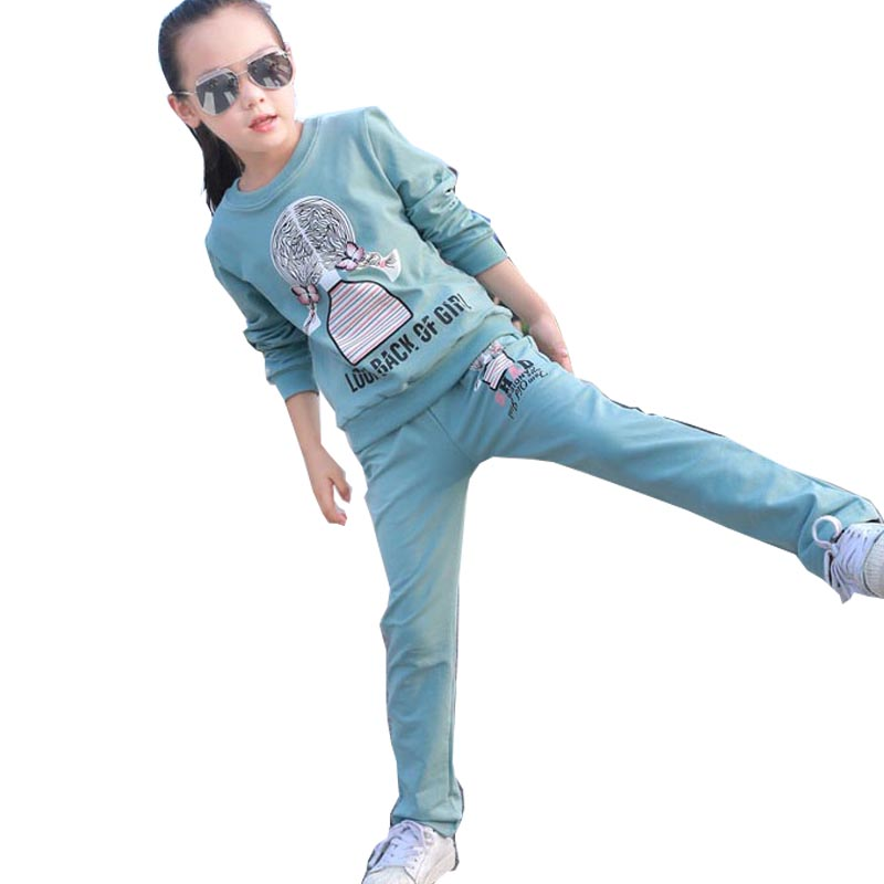 Girls clothing sets cartoon girl sport suit teenage girls clothes school children clothing set 3-13 years kids clothes tracksuit цена