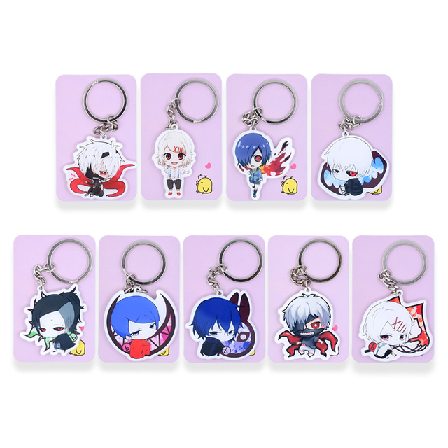 Tokyo Ghoul Re Keychain 9 Styles REI Key Chains Pendant Hot Sale Custom made Anime Key Ring PSS122-131