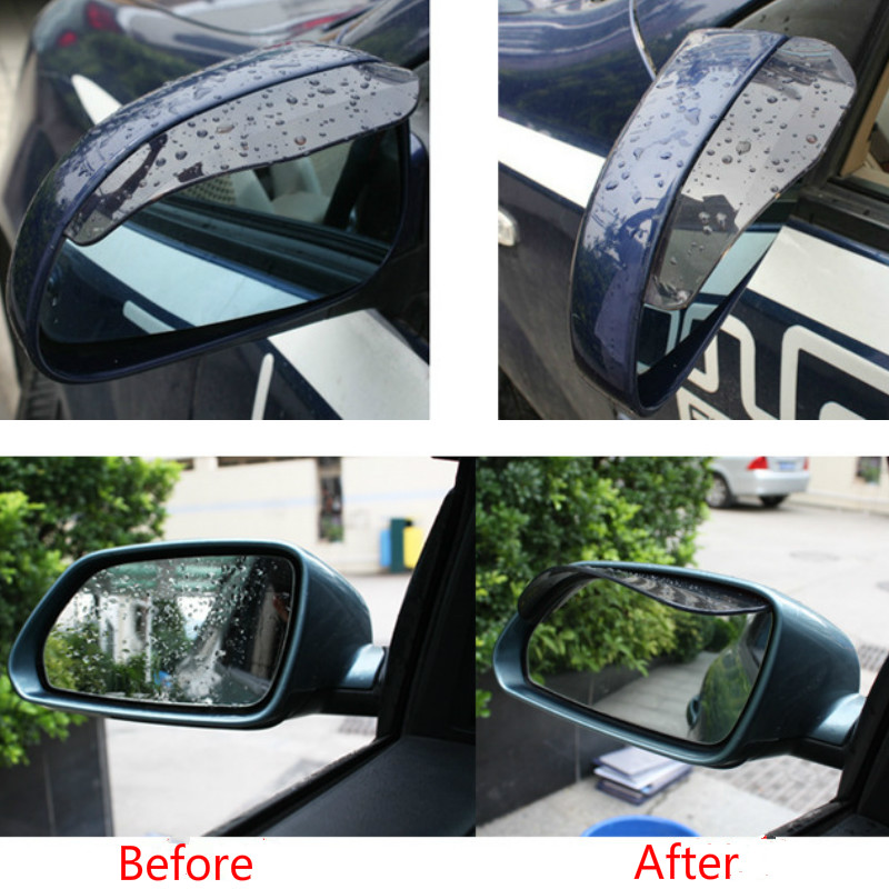 PAIR of Universal Tint Black Side Mirror Rain Snow Guard Sun Visors for Hyundai