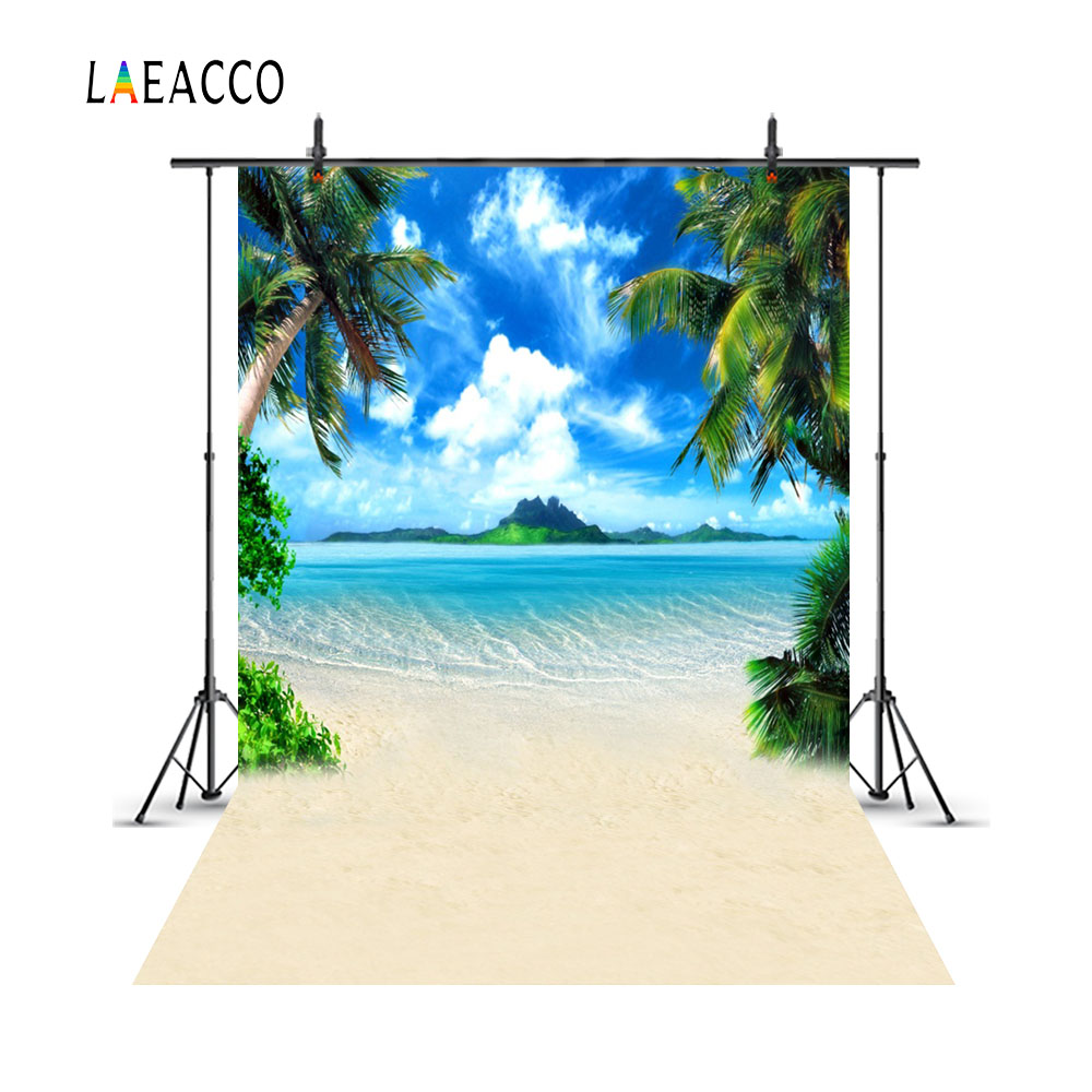 Laeacco Summer Blue Sky Sea Island Beach Palm Tree Photography Backgrounds Customized Photographic Backdrops For Photo Studio велосипед для пригорода blue island 24