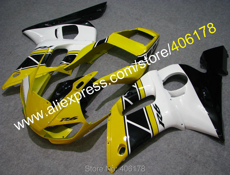 Hot Sales,Yellow Black White For Yamaha r6 Fairing 1998-2002 YZF600R YZF R6 98 99 00 01 02 Motorcycle Parts (Injection molding) fit for yamaha yzf 600 r6 1998 1999 2000 2001 2002 yzf600r abs plastic motorcycle fairing kit bodywork yzfr6 98 02 yzf 600r cb20