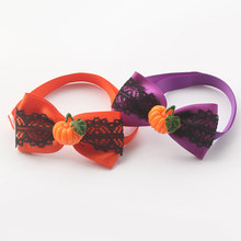 Handmade Halloween Pumpkin Decorating Lace Ribbon Dog Bow Tie Festival Tie For Dogs Pet Supplies(China)