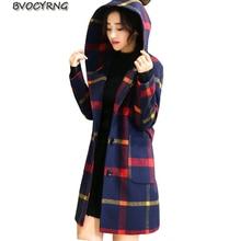 New Spring Autumn 2017Fashion Big Yards Women Cloth Coat Hooded Jacket Medium Style Fashion Elegant High-end Wool Parka Q574