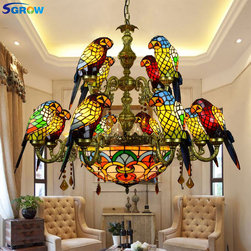 SGROW Stained Glass 12 Heads Parrot Birds Chandeliers Tiffany Art Hanging Lamp Indoor Lighting Fixture for Living Room Bedroom