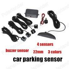 New 4 Sensors Buzzer 22mm Car Parking Sensor switch Reverse Radar Sound Alarm Indicator System 3 Colors free shipping