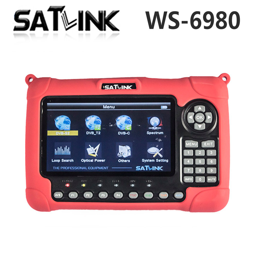 Satlink WS-6980 DVB-S2 DVB-T/T2 DVB-C Combo 7 inch HD LCD Screen Digital Satellite Meter Spectrum Analyzer constellation Finder szbox satlink ws 6979 dvb s2 dvb t2 combo ws6979 digital satellite finder meter spectrum analyzer satlink ws 6979 free shipping