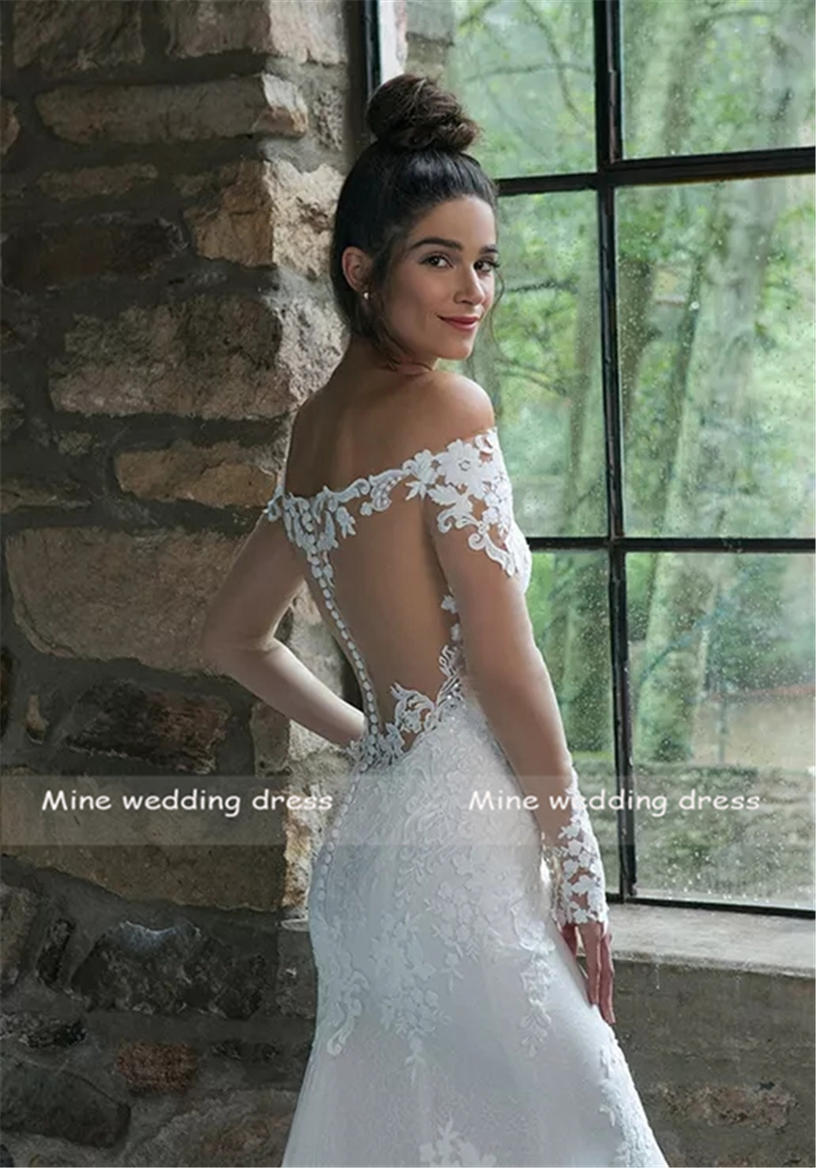 Illusion Lace Off the Shoulder Fit and Flare Mermaid Wedding Gown Long Sleeves Applique Lace Bridal Dresses vestido de noiva