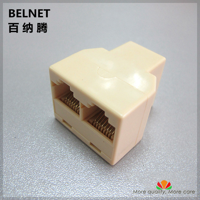 RJ45 Cable extender one into two adapter One to two female jack network connecter tee head straight network cable extender